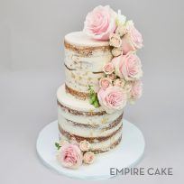 Naked Cake with Gold Leaf and Pink Roses