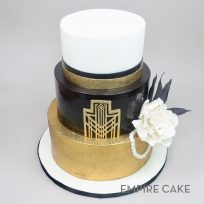 Art Deco Black and Gold with Gardenia and Pearls