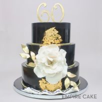 Black and Gold Three Tier with Gardenia Blossom