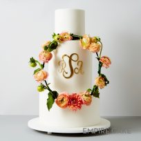 Gold Monogram with Floral Wreath
