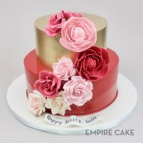 Pink Flowers on Red and Gold Tiers