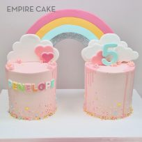 Double Cake, Rainbow, Clouds, Sprinkles and Drips Extravaganza