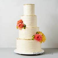 Textured Buttercream with Gold Detailing and Fresh Flowers