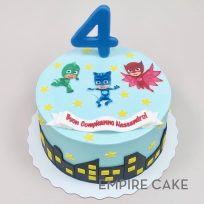 PJ Masks (edible print) and Cityscape (fondant)