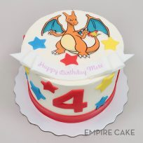 Pokemon Edible Print Character with Fondant Stars (Charizard version)