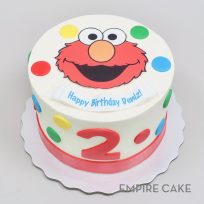 Sesame Street Edible Print with Fondant Number and Polka Dots (Elmo version)