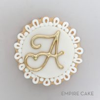Gold and Royal Icing Lace Cookies